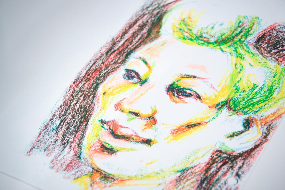 Sketching colorfull portrait with pastel
