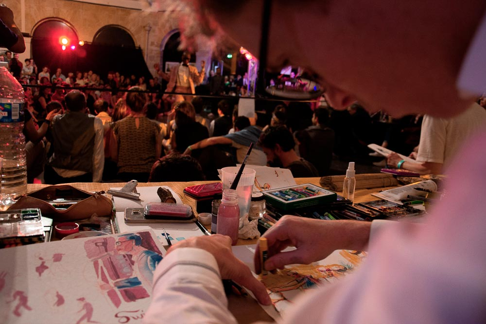 drawing during an event