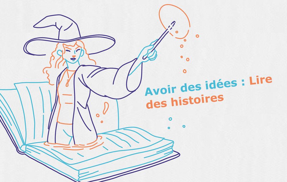 Une sorcière rousse sort tout droit d'un livre en lancant un sort avec sa baguette magique.